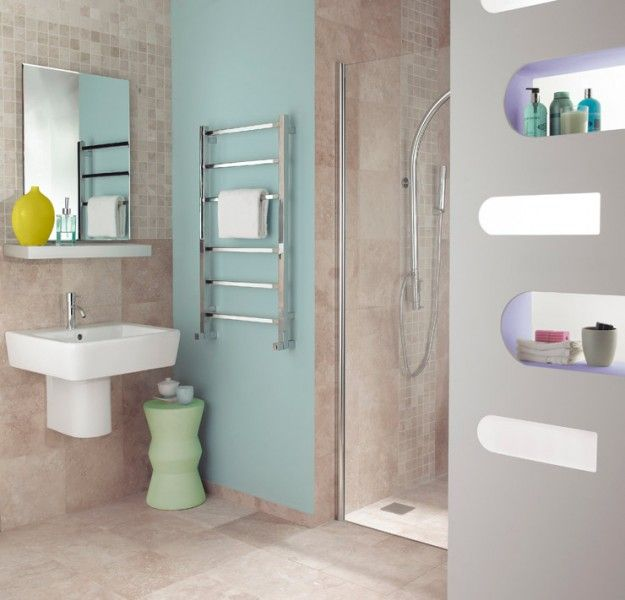 Small Designer Bathroom Radiators gio towel radiator fitted in a compact shower room | radiators for