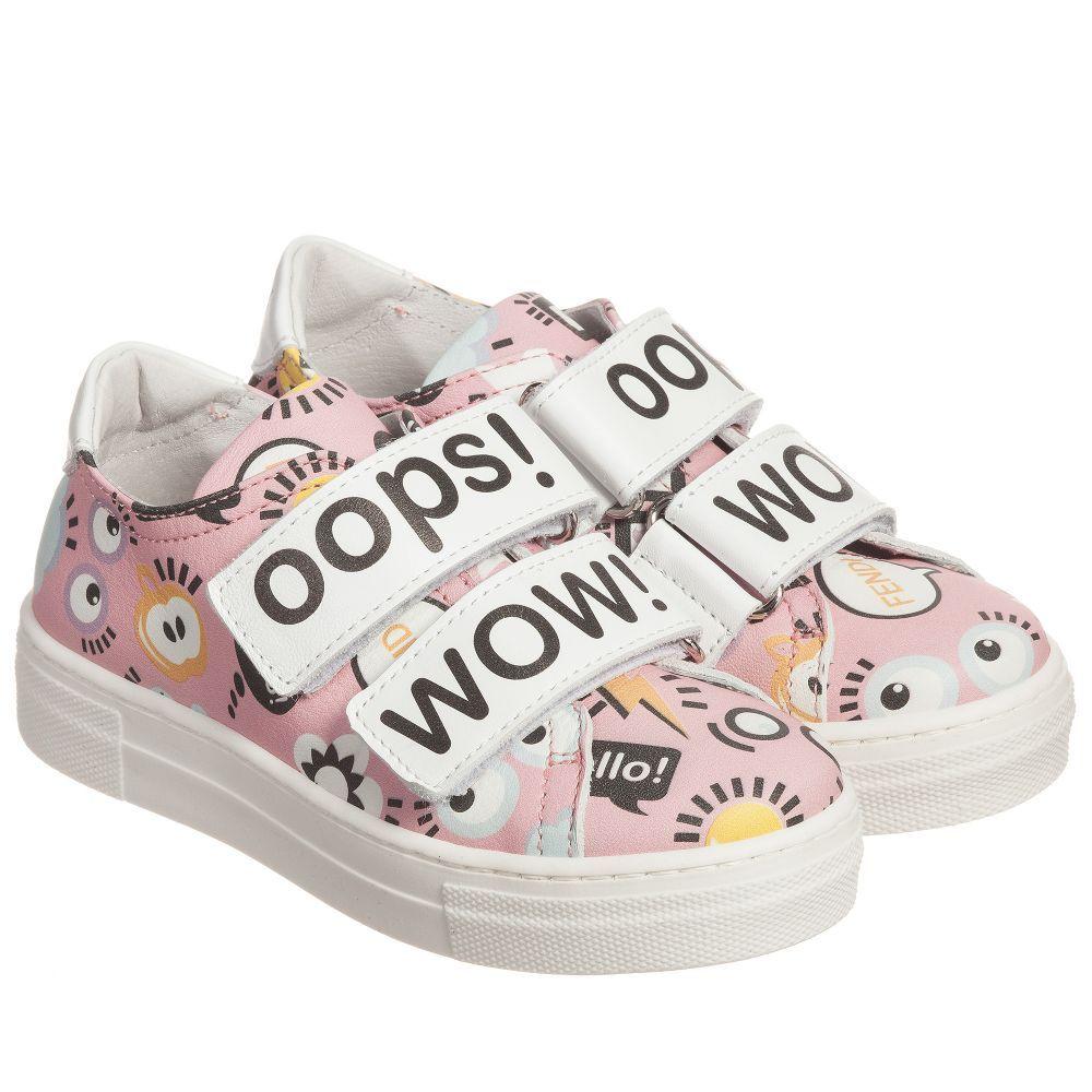 87ad671ed Fendi - Girls Pink   White Leather Trainers