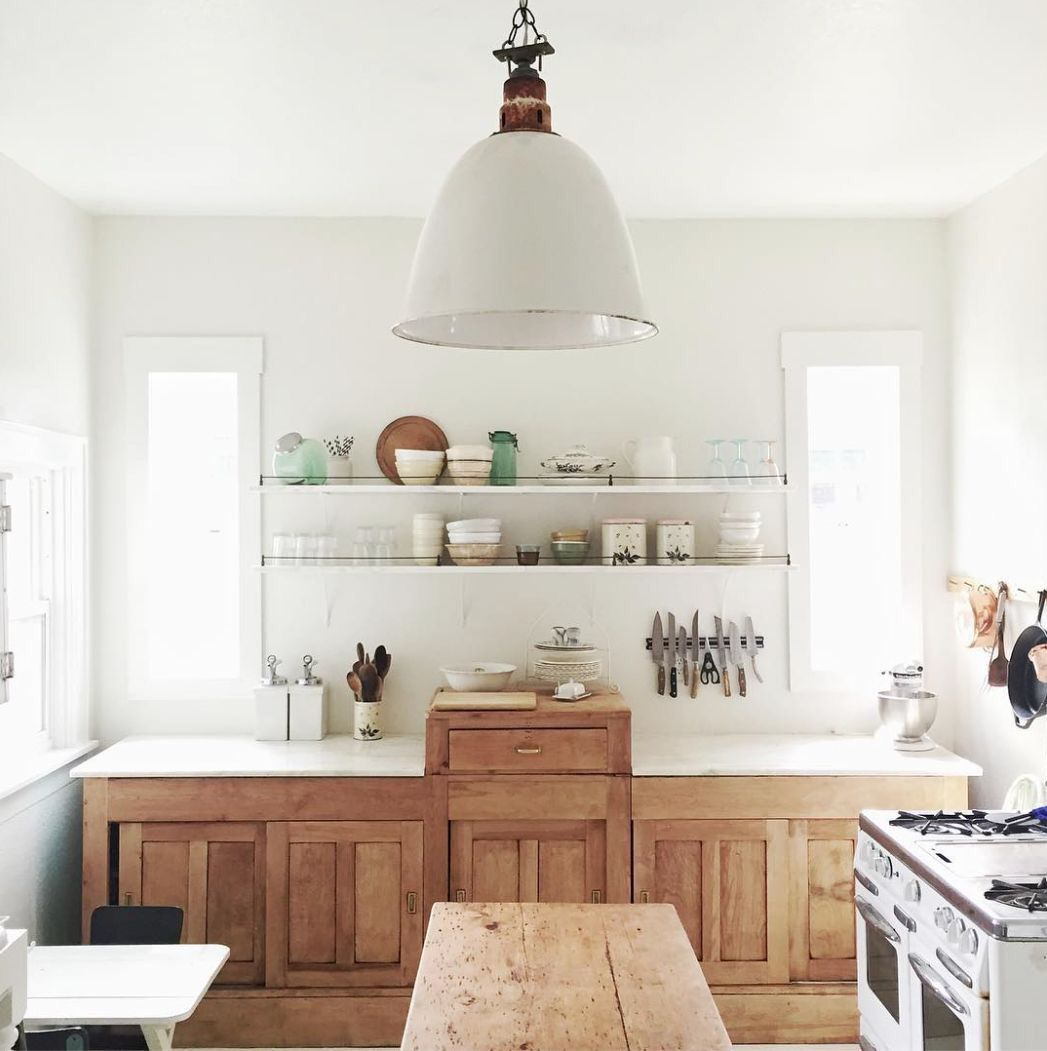 the love the rustic wooden cabinets and all clean white | home sweet ...