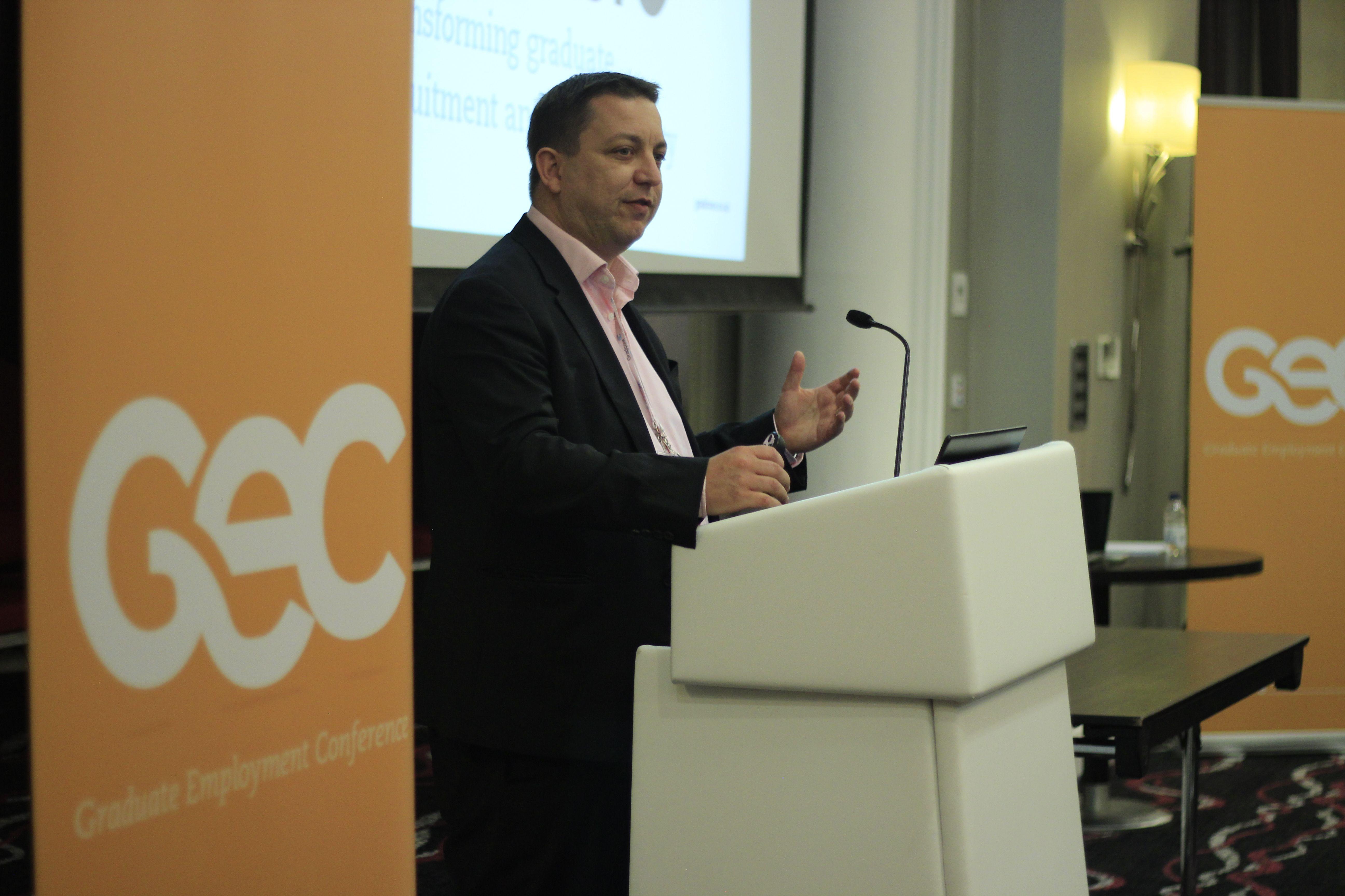 Martin Edmondson from Gradcore introducing Claire Cashmore