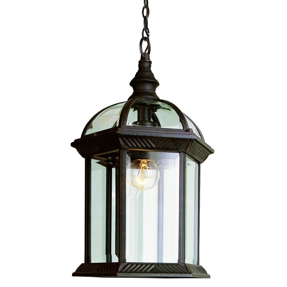 Bel Air Lighting Atrium 1 Light Outdoor Hanging Rust Lantern With Clear Glass 4183 Rt Outdoor Hanging Lights Outdoor Hanging Lanterns Outdoor Pendant Lighting