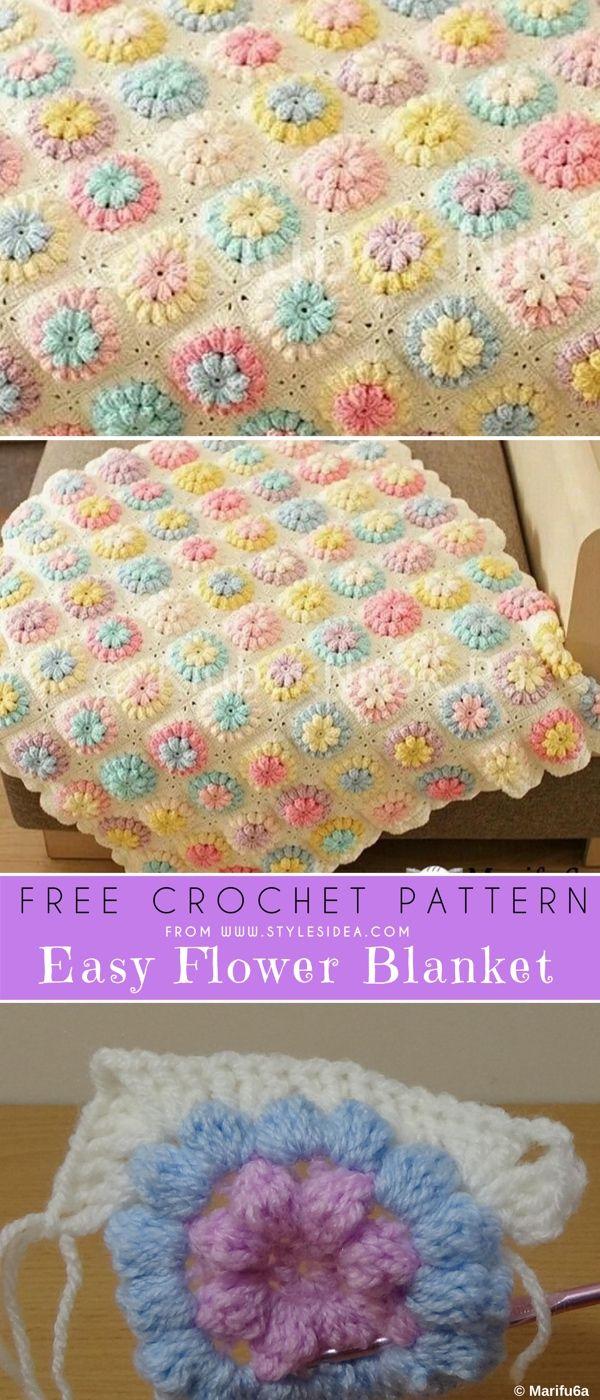 Flower Blanket For Beginner Free Crochet Pattern | Crochet blankets ...