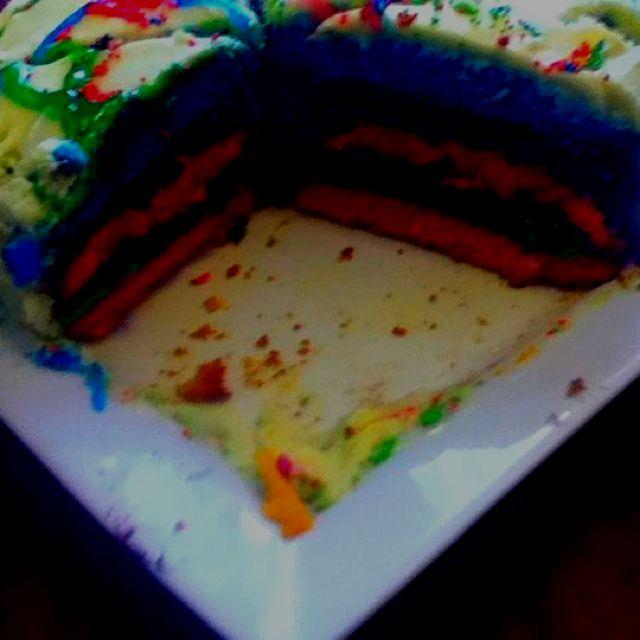 Layered rainbow cake!