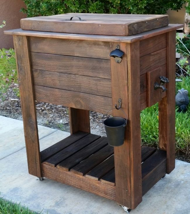 upcycled rustic custom wood coolers outdoors outdoor cooler rh pinterest com