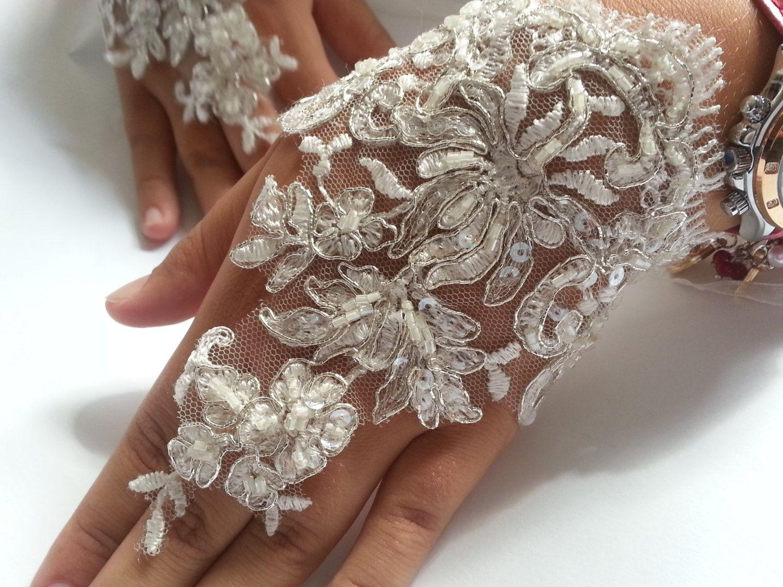 Wedding Gloves, Fingerless Gloves, ivory wedding gown