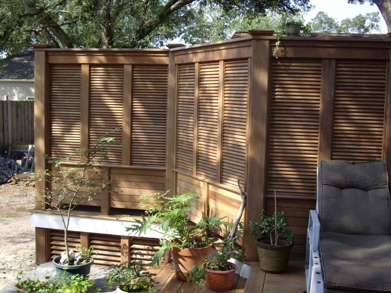 Shutters on the deck privacy screen decks pinterest for Hanging privacy screens for decks