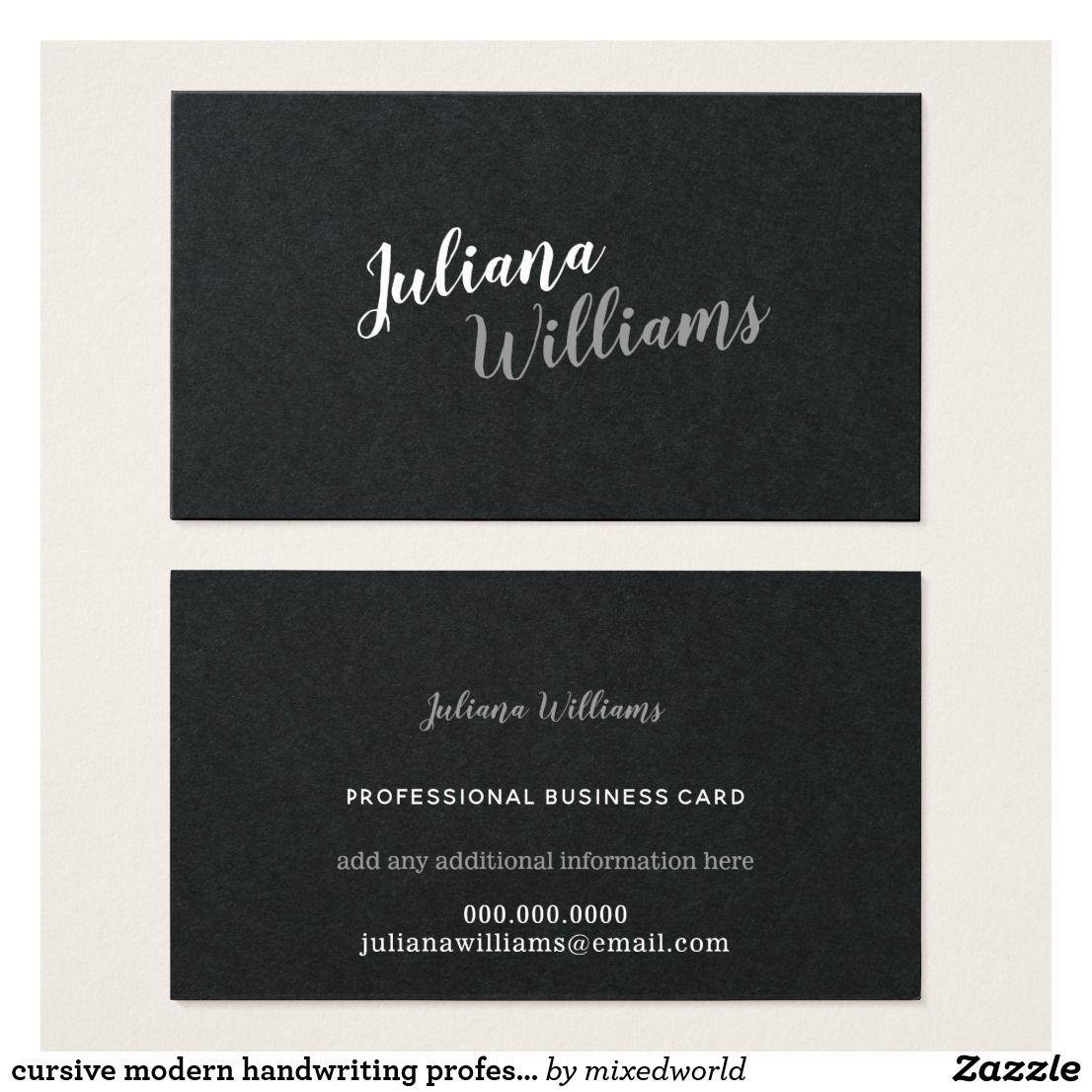 cursive modern handwriting professional black business