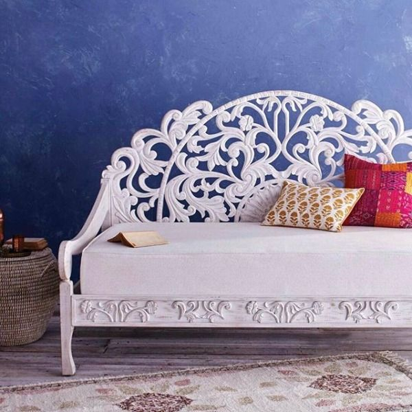A Compact Seating And Sleeping Solution In One, Our Whitewash Carved Zarah  Daybed Features A