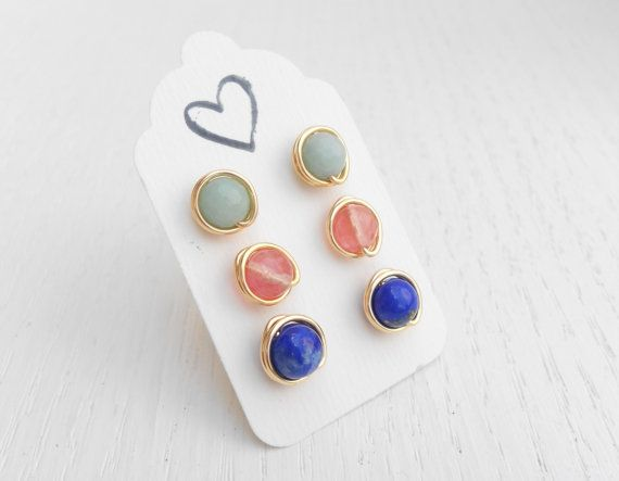 Set Of 3 Gemstone Stud Earrings Gold Wire Wred By Sarittdesigns