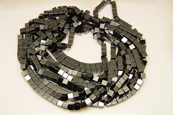 1strand  natural hematite plain cube sized 8mm by 3yes on Etsy