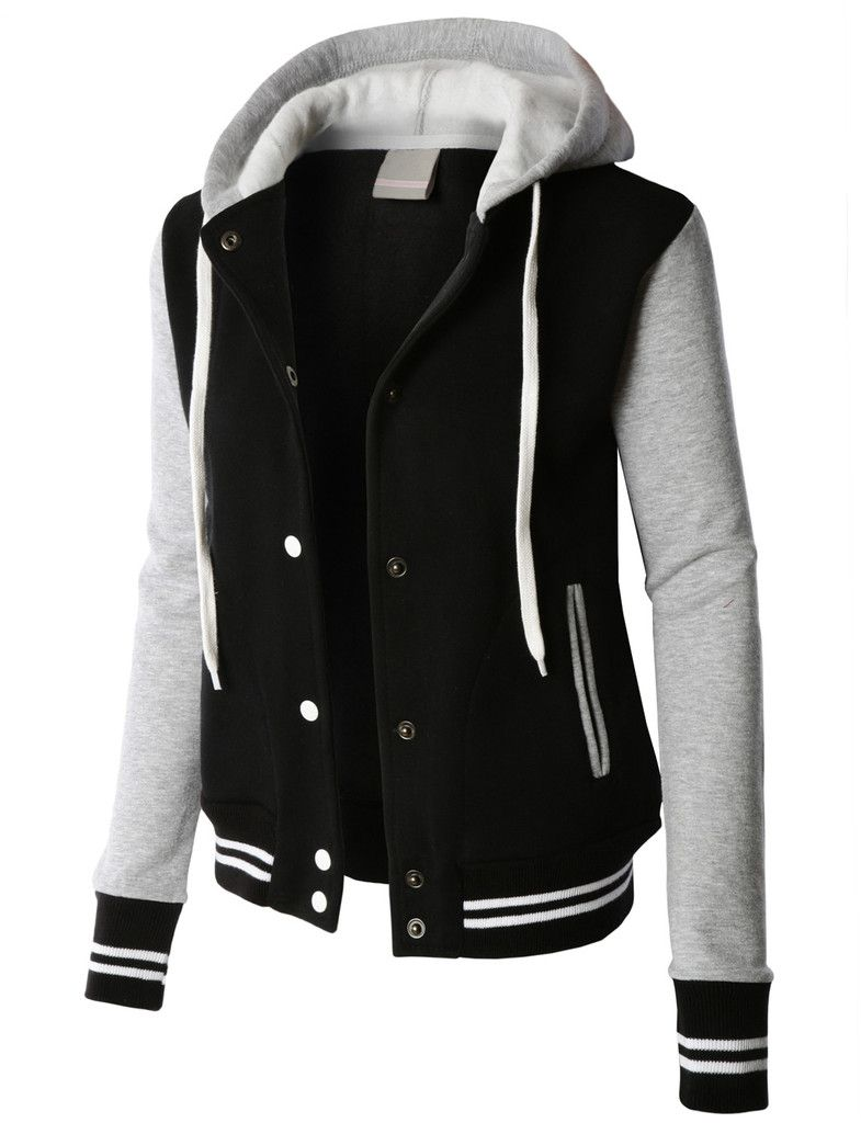 LE3NO PREMIUM Womens Contrast Sleeve Fleece Varsity Baseball ...