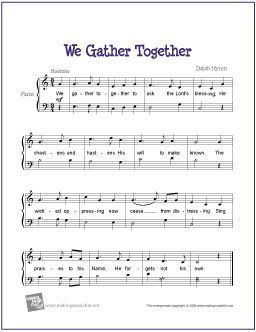 We Gather Together With Images Easy Piano Sheet Music Sheet