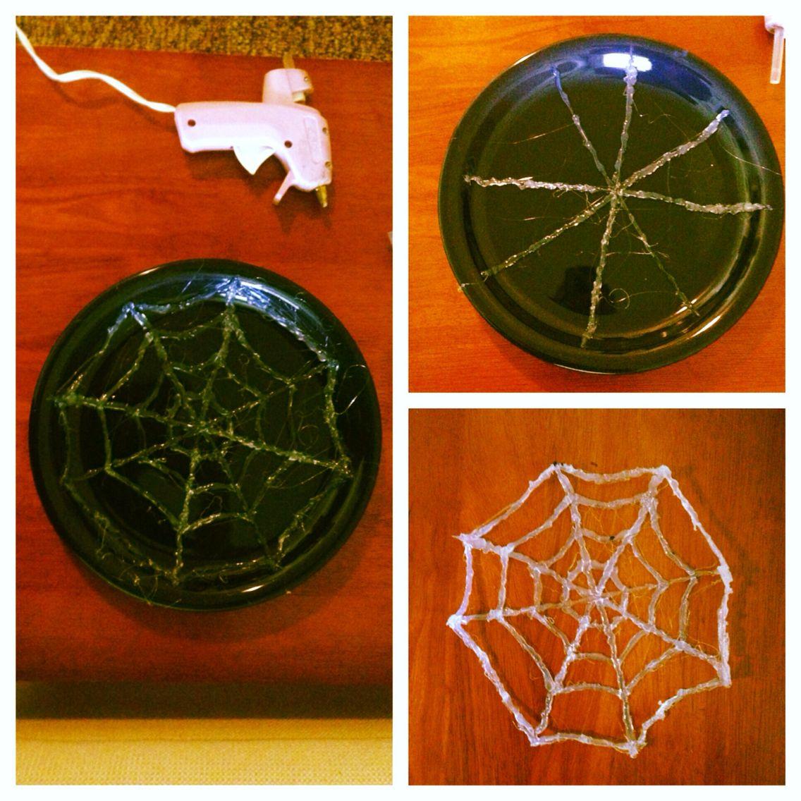 Diy spider web. #gluegun #decorations #siderweb #diy #craft #halloweendecor #handmade #halloween