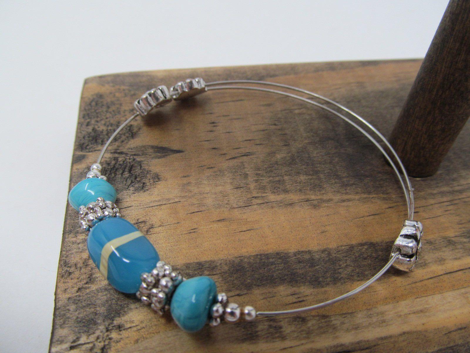 Bluegreen silver bangle bracelet womens gift jewelry boho