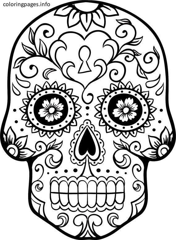 Dia De Los Muertos Sugar Skull Coloring Pages   skull   Pinterest ...