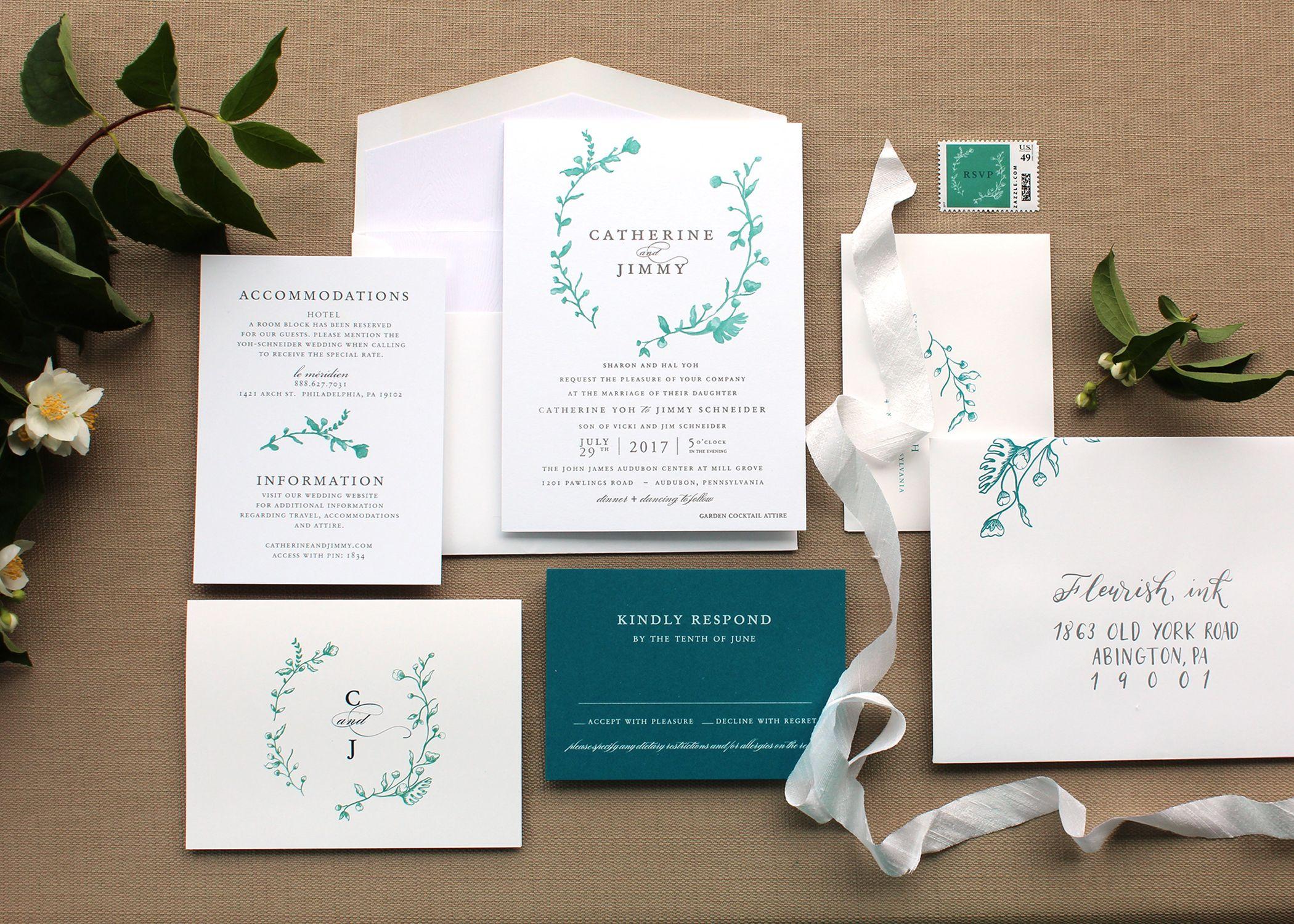information on wedding invitation examples%0A Designed by Fleurish ink   Wedding Invitation  Custom Design  Watercolor   Letterpress