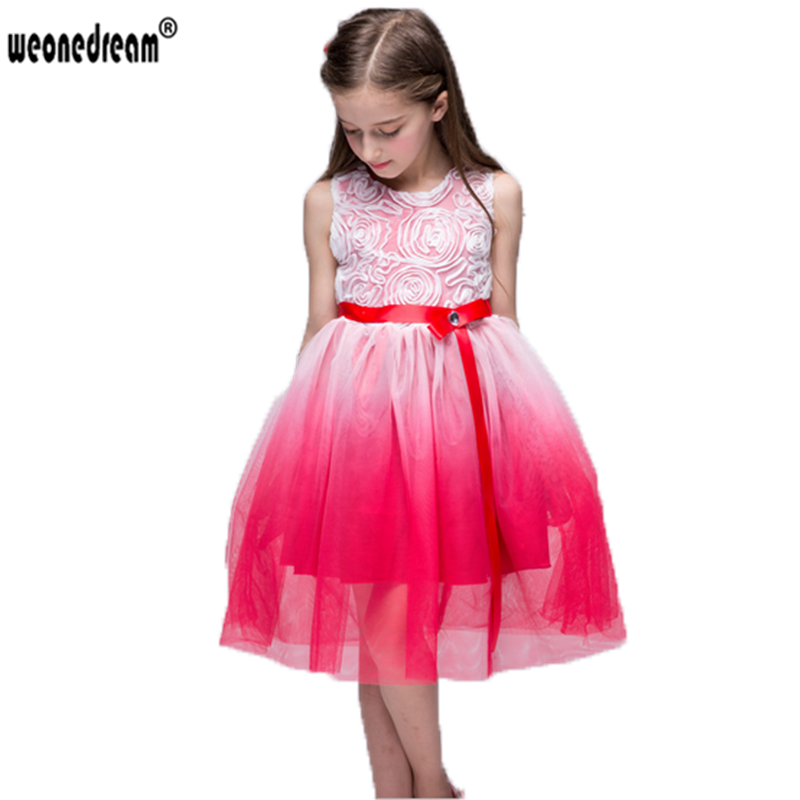 Click to Buy << WEONEDREAM New Flower Girl Dresses Sashes Knitted ...
