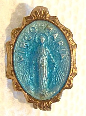 $18 Vintage Miraculous Medal Pin Aqua Blue Enamel Virgo Maria Virgin Mary, Our  Lady Of Miracles, Grace
