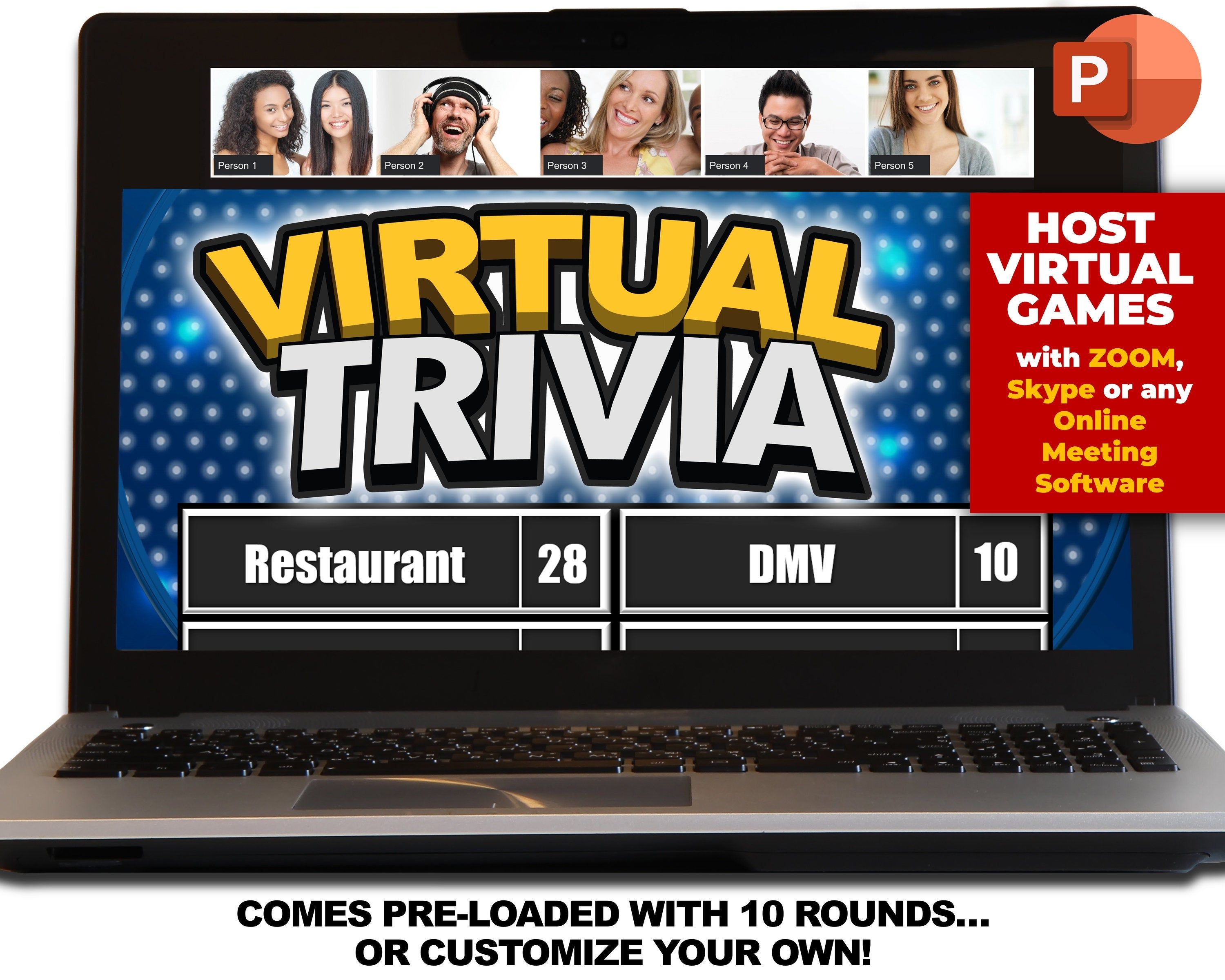 Virtual Trivia Party Game Download Play On Zoom Pc Mac Etsy In 2021 Internet Games Download Games Make Your Own Game