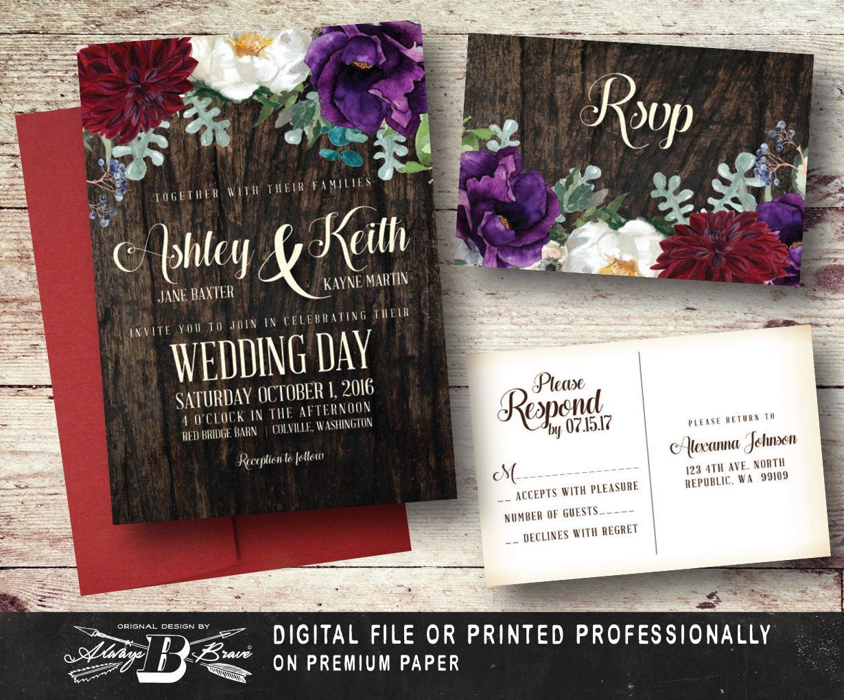 diy wedding invites rustic%0A Rustic Wedding Invitation SET   Roses Wood Printed Invite   Printable  Digital File DIY   Country Boho Marsala Burgundy Plum Purple Flowers