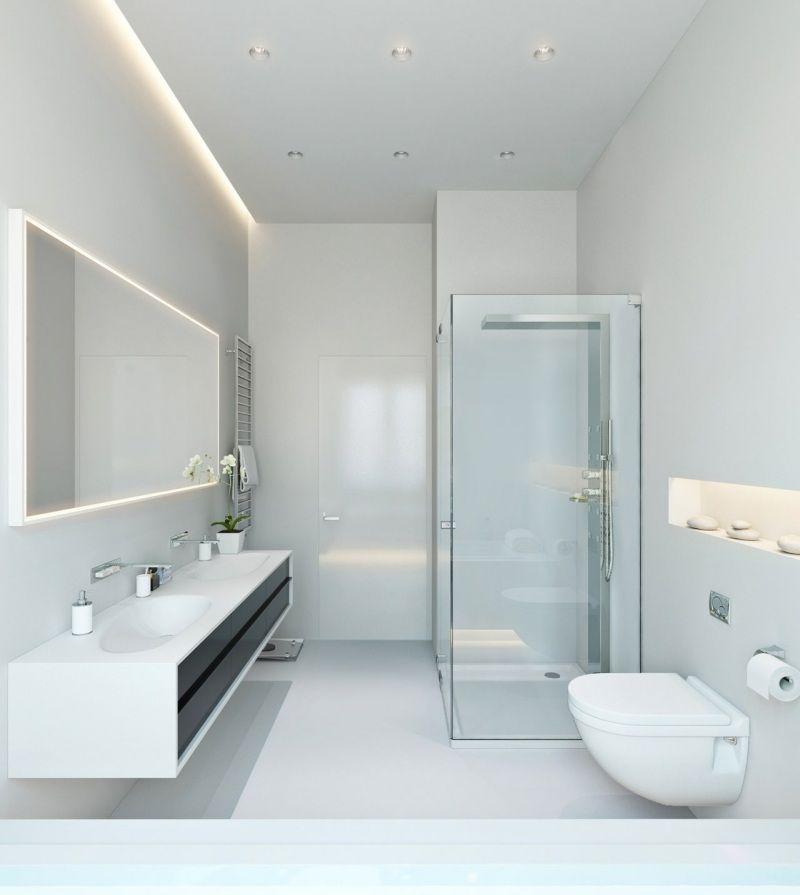 pur weißes Bad mit Glasdische und LED Beleuchtung Bad - led beleuchtung badezimmer