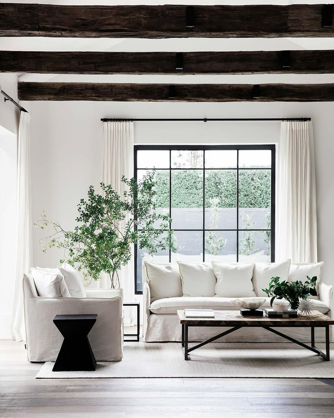 All white wood and greenery a