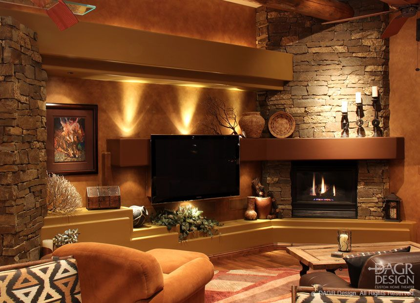 Natural Stone Custom Media Wall In A Lodge Style Living Room Fascinating Wood Design Living Room Design Ideas