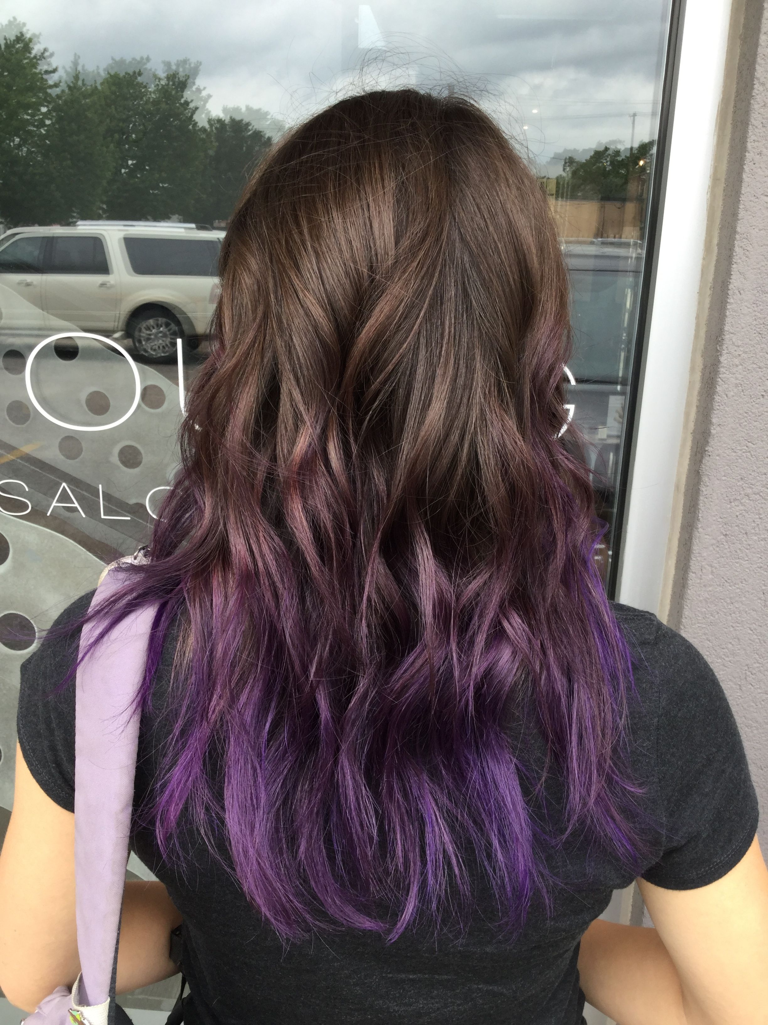 Purple balayage hair. Purple hair color tips. Purple ombre ...