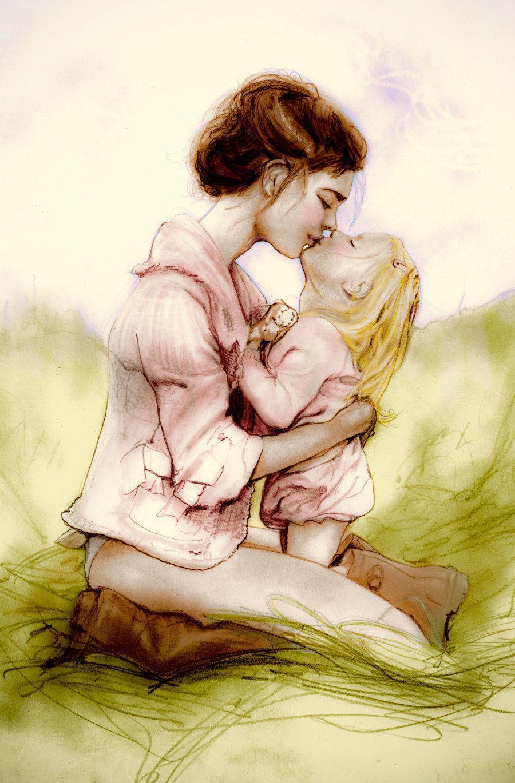 Mamma E Figlia Disegno.Madre E Figlia Abbraccio Sul Prato Illustrazione 900x1370