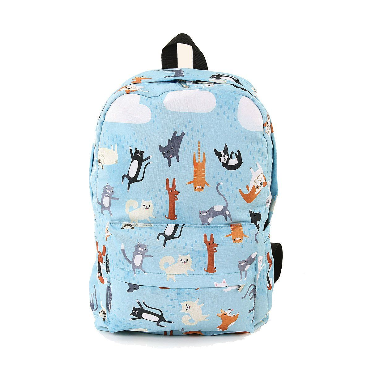 3729315dfa96 Raining Cats And Dogs Printed Polyblended Fabric Backpack: Clothing ...
