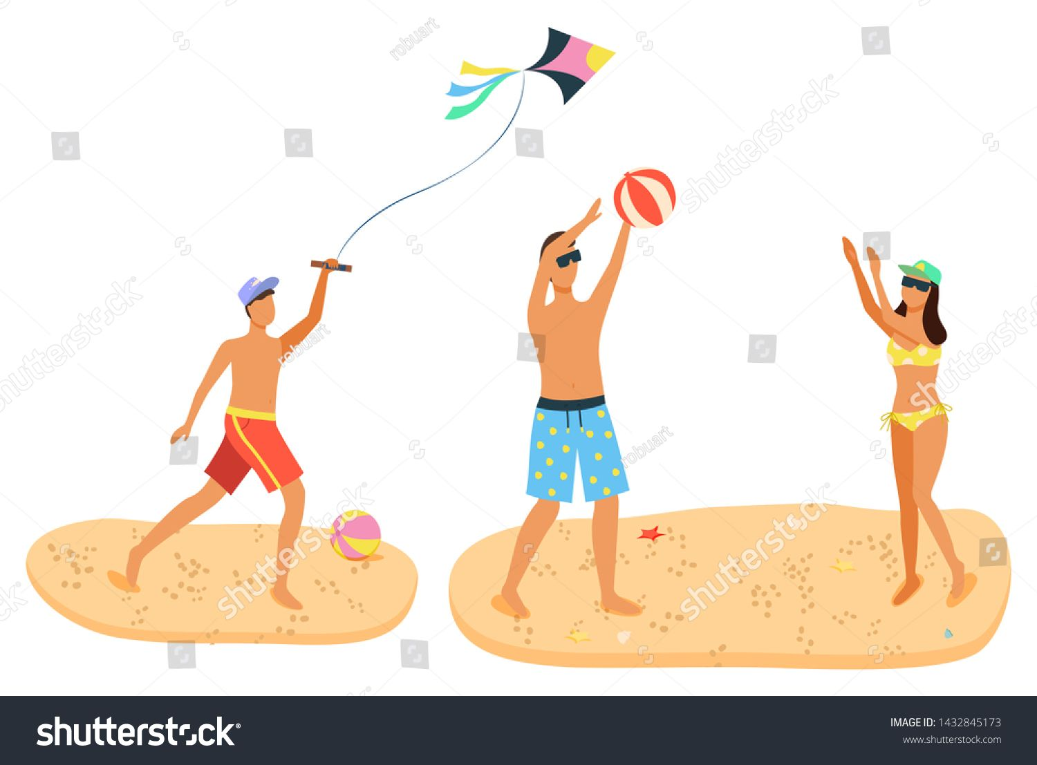 Summer Fun Recreation Activities On Sand Man And Woman In Swimsuit Playing Beach Volleyball Male With Wind Kite Cartoon People With Ball Isolated Ad Spon