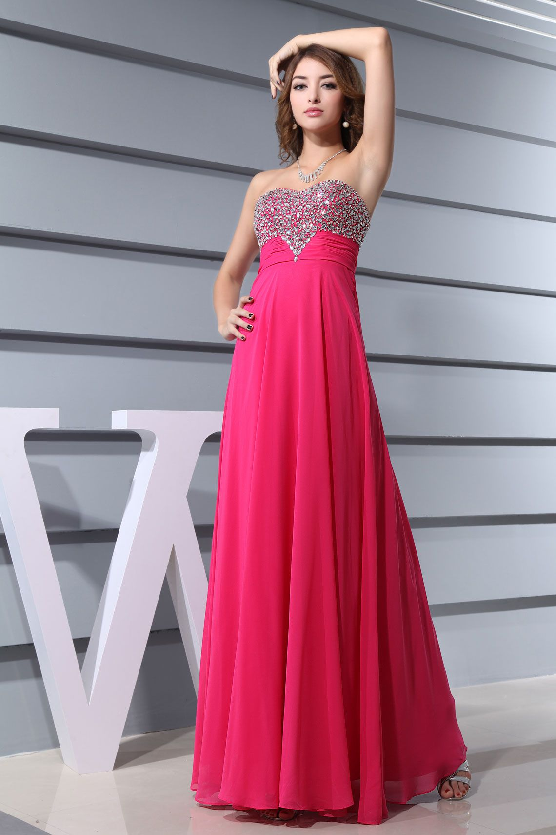 Long column ruched crystal beaded special occasion dress