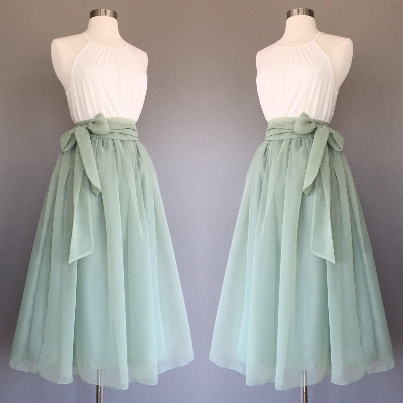 Sage green chiffon skirt, tea length, Bridesmaid skirt, floor