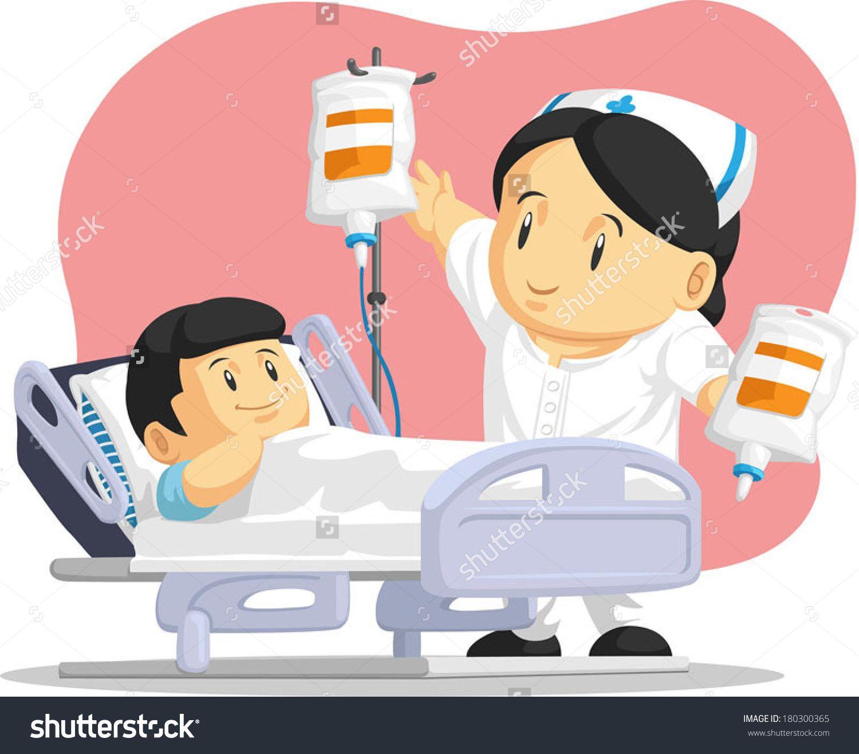 Cartoon Of Nurse Helping Child Patient.. Nurse cartoon