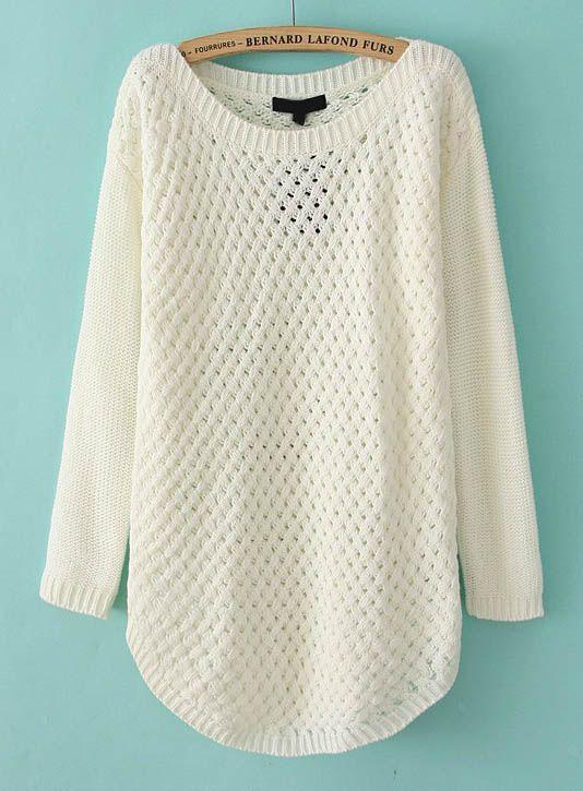 Sueter blanco tejido. Jersey hueco mangas largas-Blanco 1a9e36f2ef8e