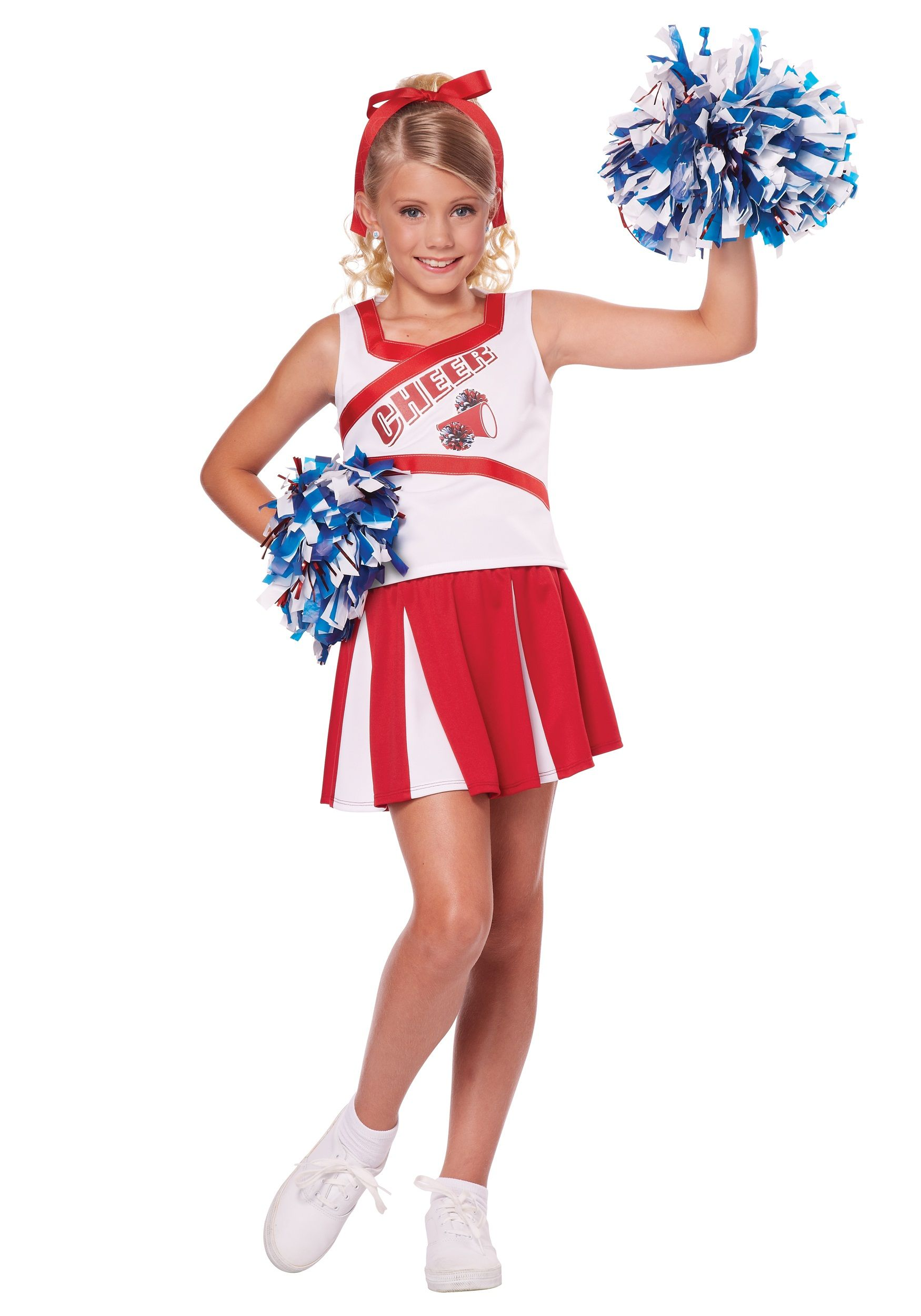 Girls Cheerleader USA American High School Fancy Dress Costume Childrens Outfit