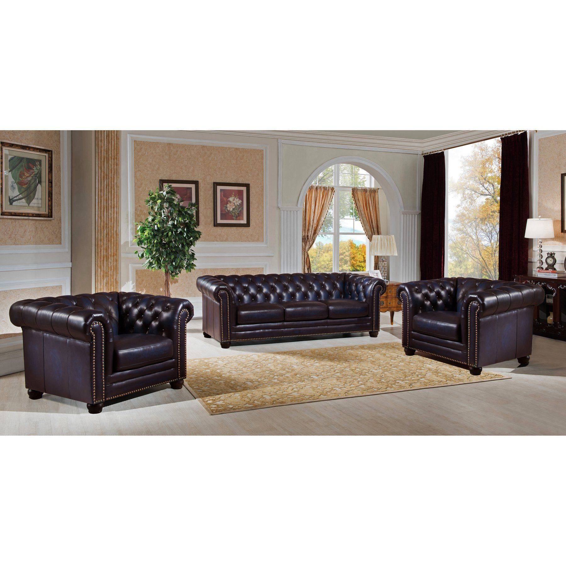Amax Leather Dynasty Top Grain Leather 3 Piece Sofa and Armchair