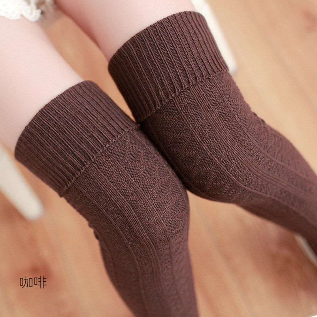 afb92ba03 Beige Brown Red Gray Black Knee Socks Women Warm Thigh High Stockings  Stocking 2017 Fashion Sexy