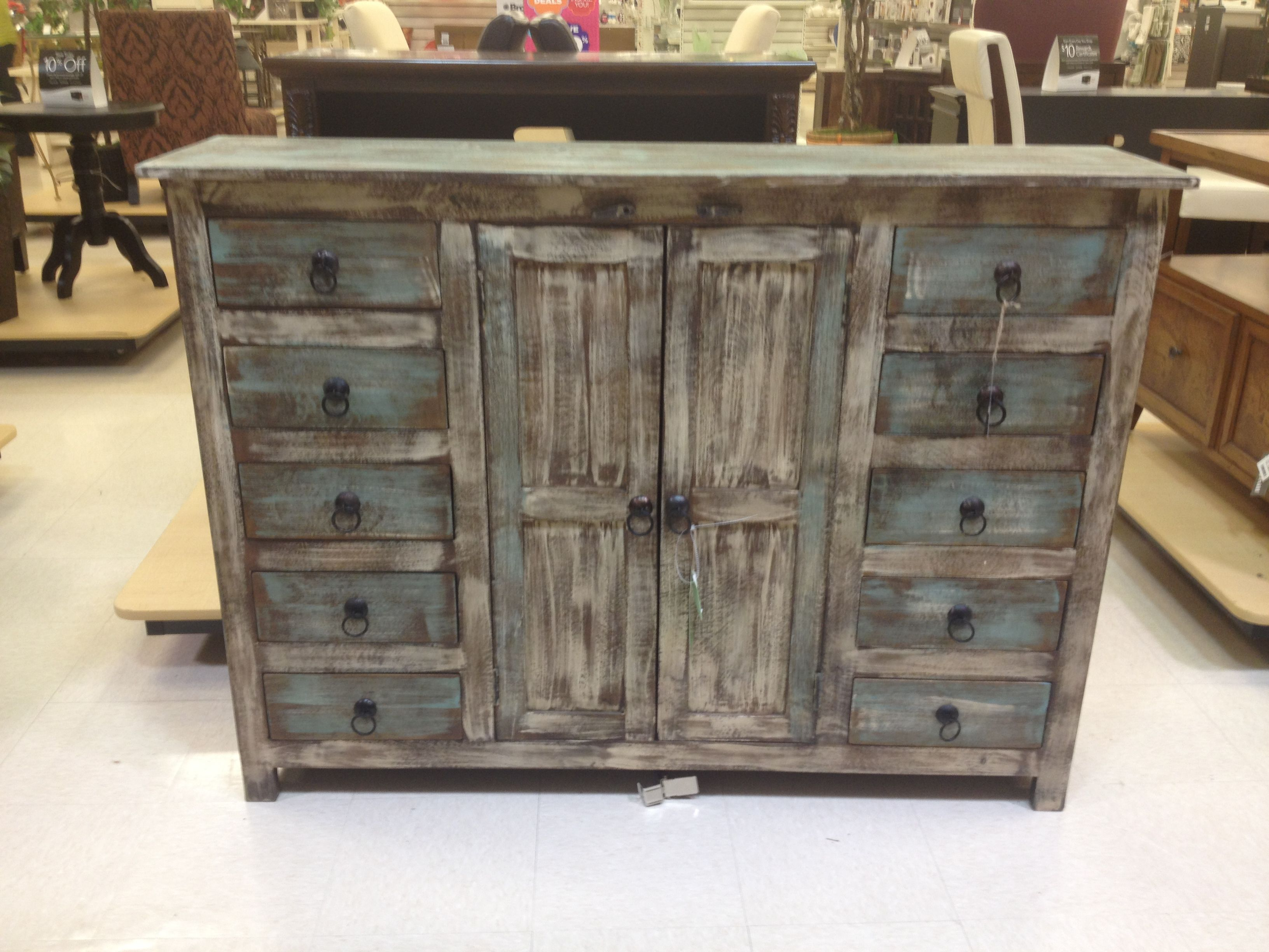 Rustic Weathered Blue Buffet Or Credenza