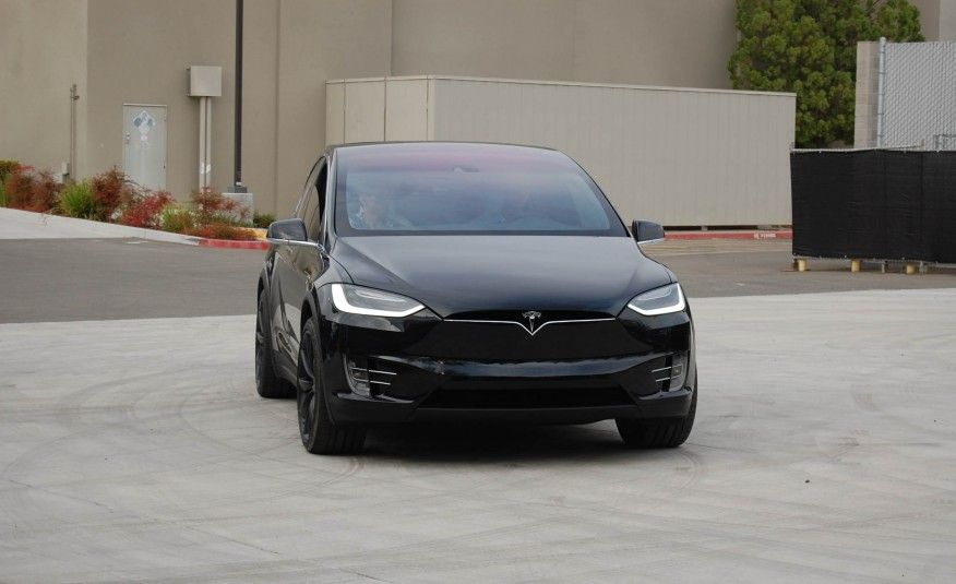 2017 Tesla Model X black color, grille and headlights