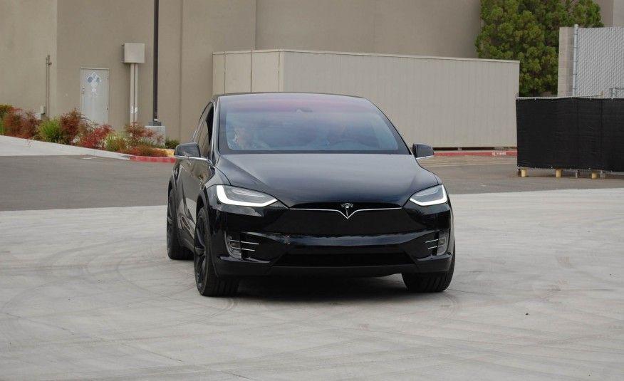 2017 Tesla Model X black color, grille and headlights
