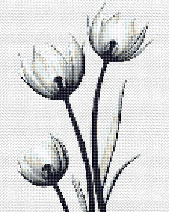 Floral Cross Stitch Pattern PDF Cool cross stitch Tulip Black and White X Ray Modern Embroidery Wedding cross stitch floral Natural Wall Art #whiteembroidery
