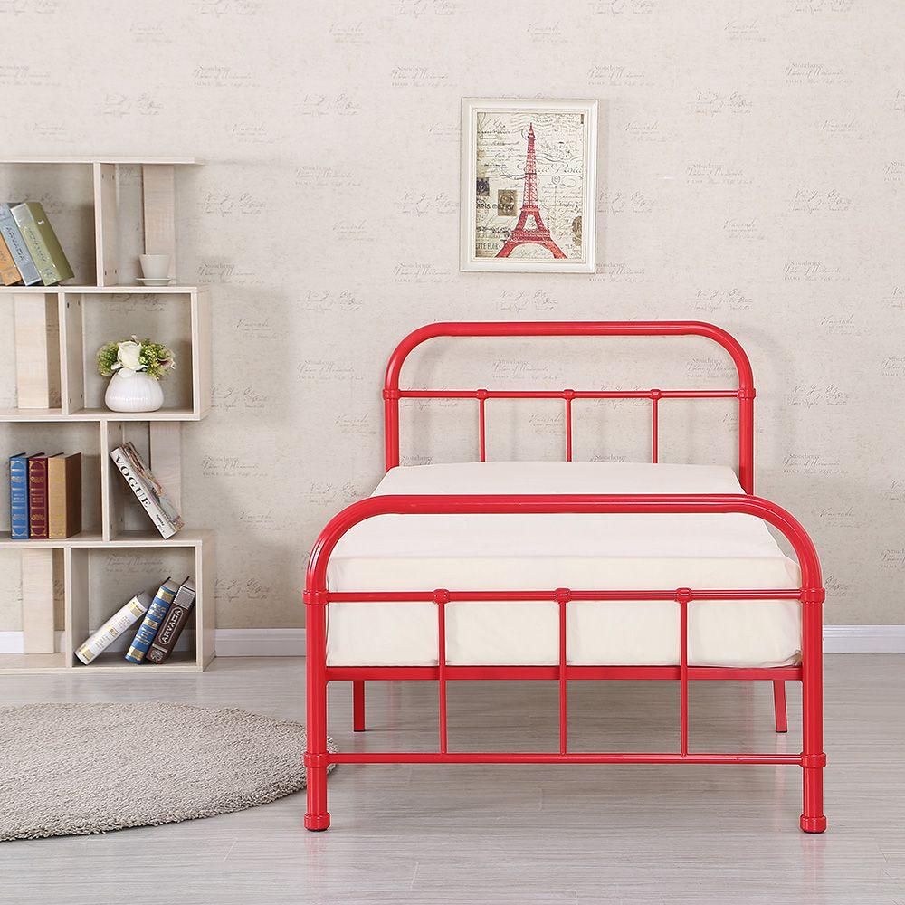 red iKayaa Metal Platform Twin Size Bedroom Bed Frame