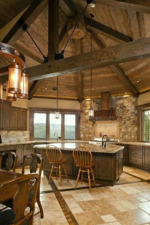 the dome ceiling and open beams are amazingly beautiful in this kitchen i love everything about it - Open Beam Ceiling