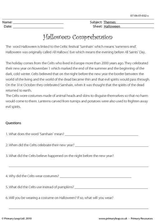 PrimaryLeap.co.uk - Halloween comprehension Worksheet ...