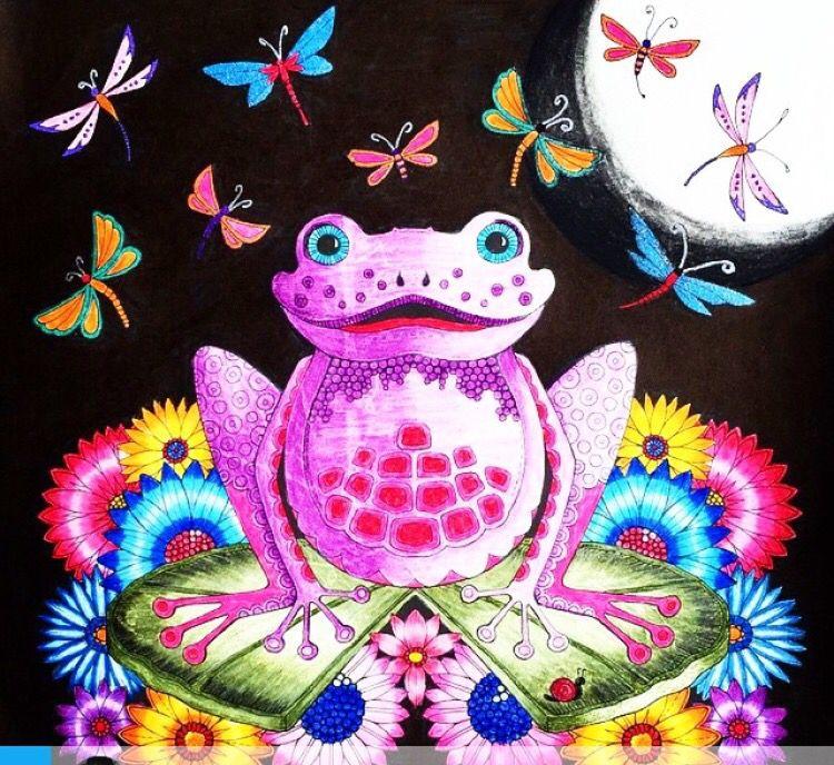Johanna Basford Coloring Book Frog Enchanted Forest Sapo Floresta Encantada