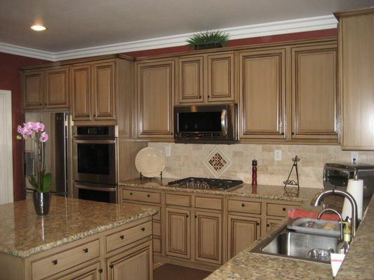 Decorative painted cabinet finishes. | Kitchen