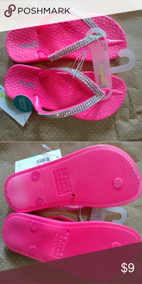 71b3dca20d3fb NWT Capello Flip Flops with rhinestones Beautiful neon pink with  multi-colored rhinestones on the straps. Super soft in soles! Cappelli New  York Kids Shoes ...