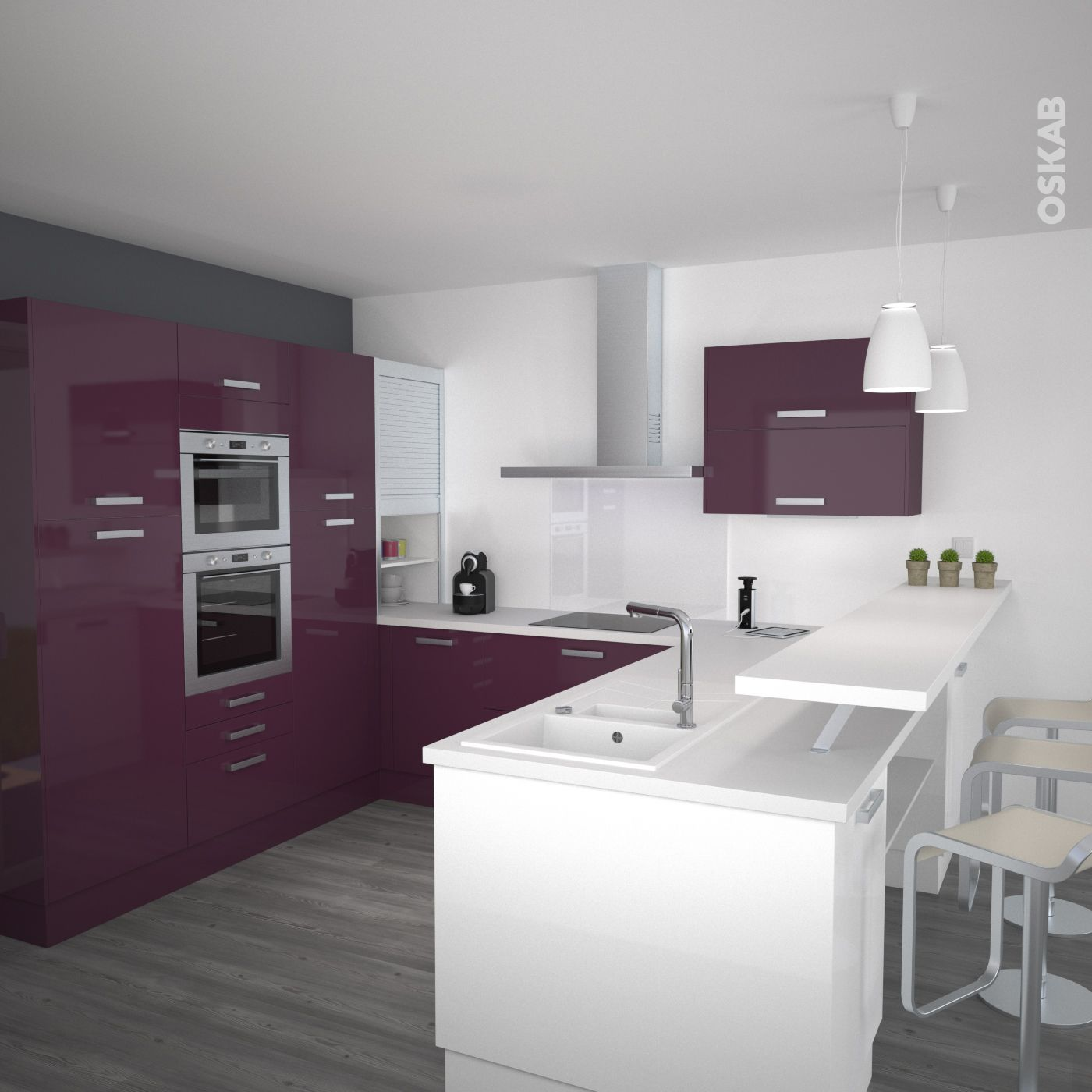 cuisine aubergine mod le keria aubergine brillant cuisine et collations. Black Bedroom Furniture Sets. Home Design Ideas