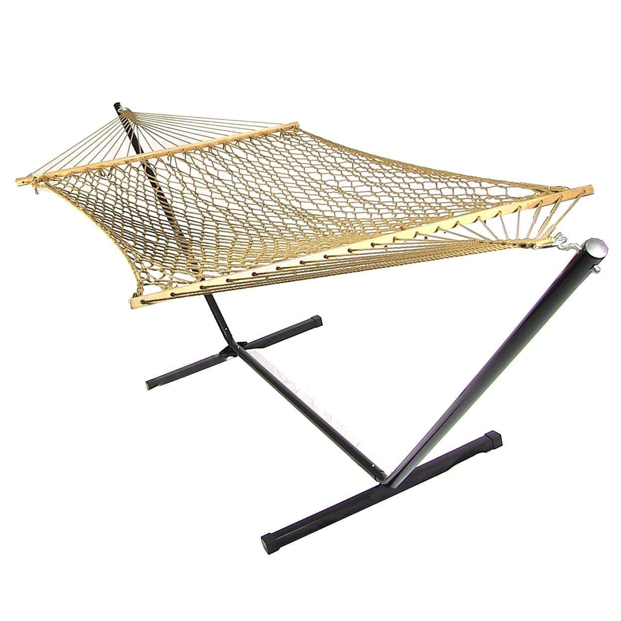 Sunnydaze caribbean xl rope hammock with spreader bars u hammock